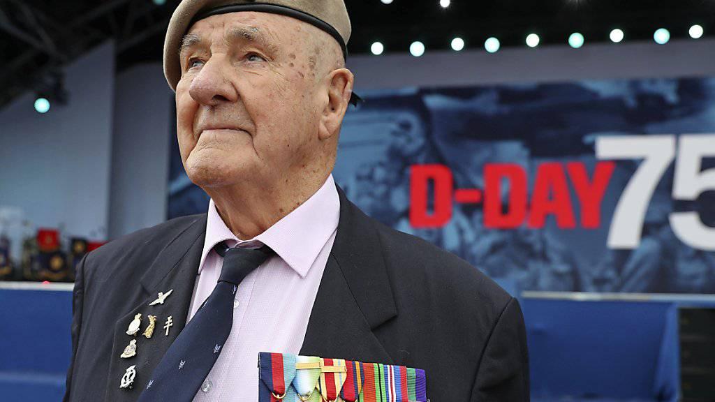 Der mehrfach ausgezeichnete Kriegsveteran Bertie Billet bei den Gedenkfeiern an den D-Day im englischen Portsmouth: US-Präsident Donald Trump ist zu den Feierlichkeiten am Mittwoch in Portsmouth eingetroffen.
