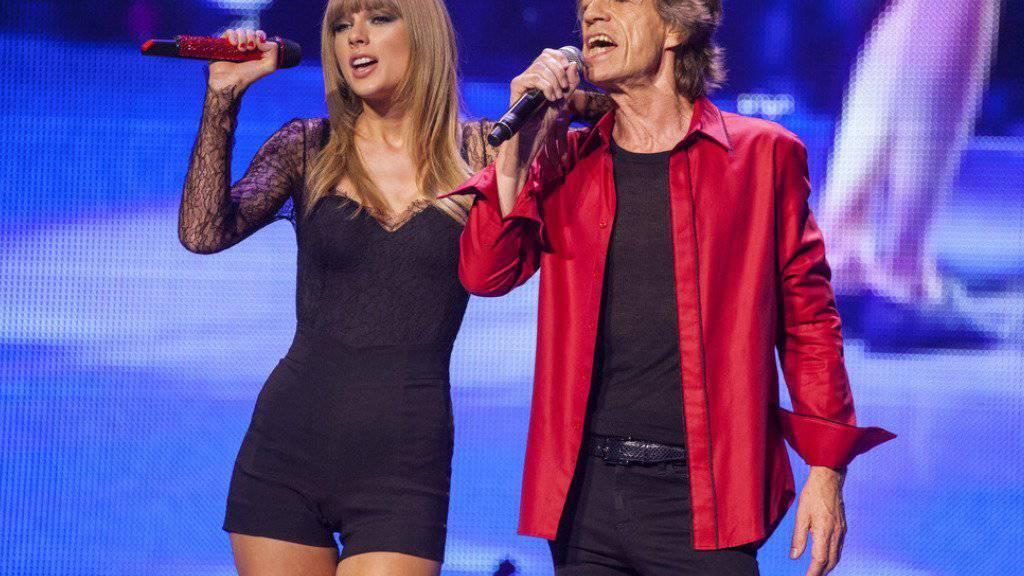 Taylor Swift und Mick Jagger 2013; am Wochenende wiederholten sie das Duett (Archiv).