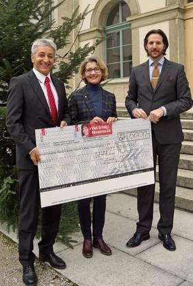 Dr. Erich Leutenegger (Rektor), Anke Hoffmann (Stiftung Theodora), Christoph Büchli-Sen (Leiter Erwachsenenbildung).
