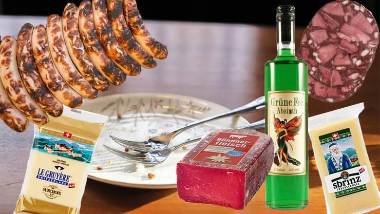 Geschützt sind: Gruyère, St.Galler Bratwürste, Bündnerfleisch und Sprinz. Noch ohne Schutz sind Absinth und Berner Zungenwurst.