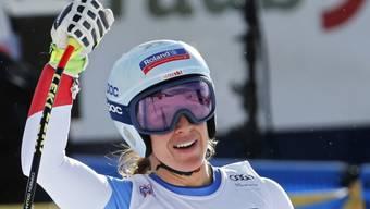 Jasmine Flury kann es selber kaum glauben: Sieg im Super-G von St. Moritz.