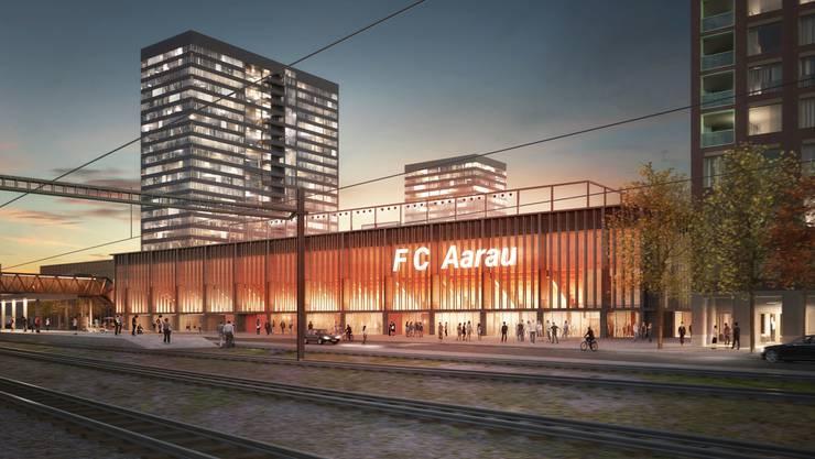 Noch ist es ein weiter Weg zum neuen Aarauer Stadion. (Visualisierung)
