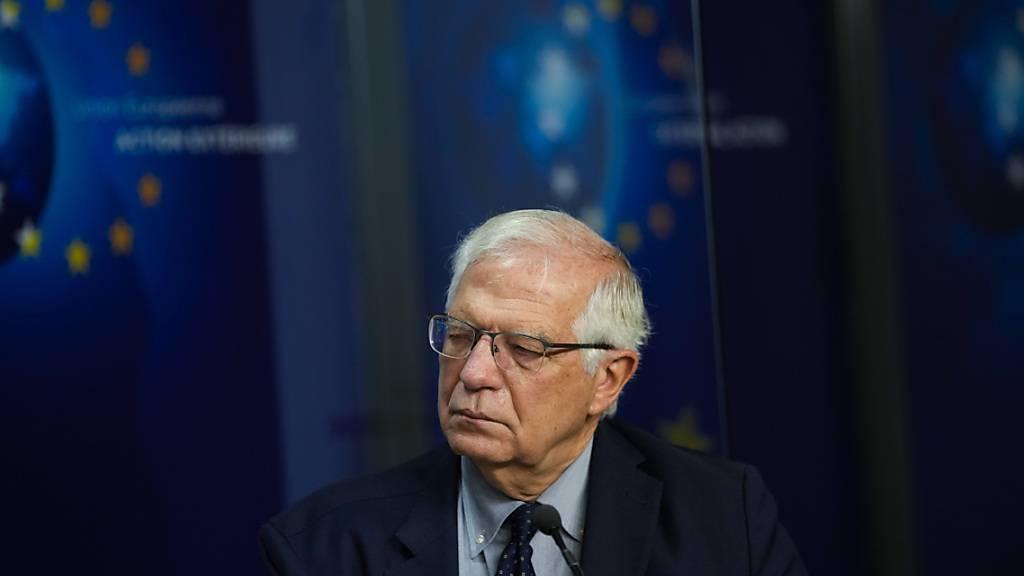 Josep Borrell, EU-Außenbeauftragter, nach einem Treffen in Brüssel. Foto: Francisco Seco/Pool AP/dpa