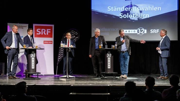 Die Kandidaten (v.l): Stefan Nünlist (FDP), Christian Imark (SVP), Pirmin Bischof (CVP), Felix Wettstein (Grüne) und Roberto Zanetti (SP).