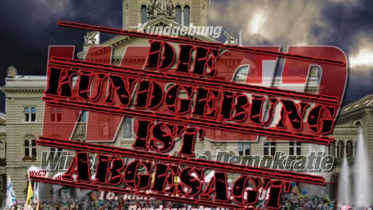 """So gibt der Verein """"Brennpunkt Schweiz"""" auf seiner Internetseite die Demoabsage bekannt. (Screenshot)"""