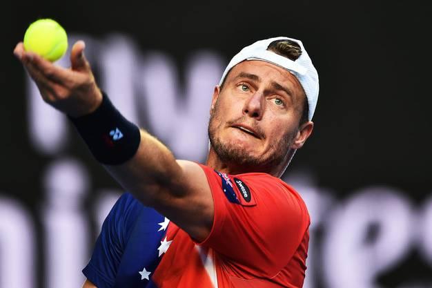 Zwar nicht Orange, doch Lleyton Hewitt fällt trotzdem auf. Das Käppi ist das Markenzeichen des Australiers.