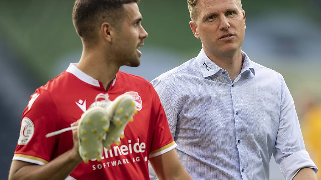 Schaffen Trainer Marc Schneider (rechts) und sein neuer Schlüsselspieler Leonardo Bertone mit Thun den Ligaerhalt?