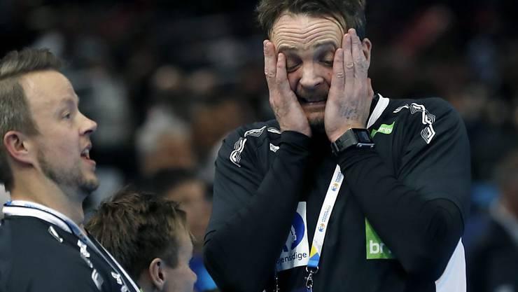 Norwegens Trainer Christian Berge kann es nicht fassen: sein norwegisches Team steht im WM-Final gegen Weltmeister Frankreich