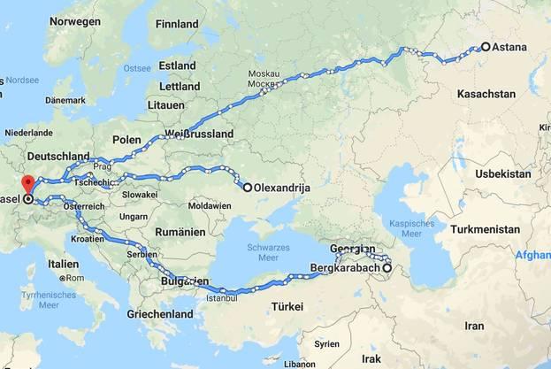 Die Reise von Basel zu den drei Spielorten und zurück beträgt 24'100 Kilometer.