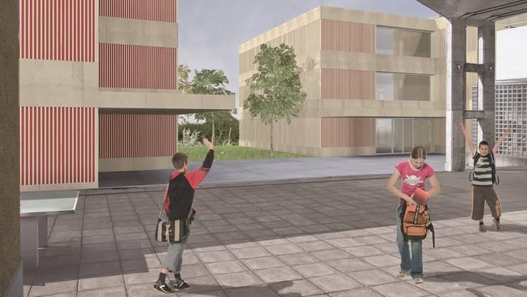 Visualisierung der neuen Schulanlage Rütihof