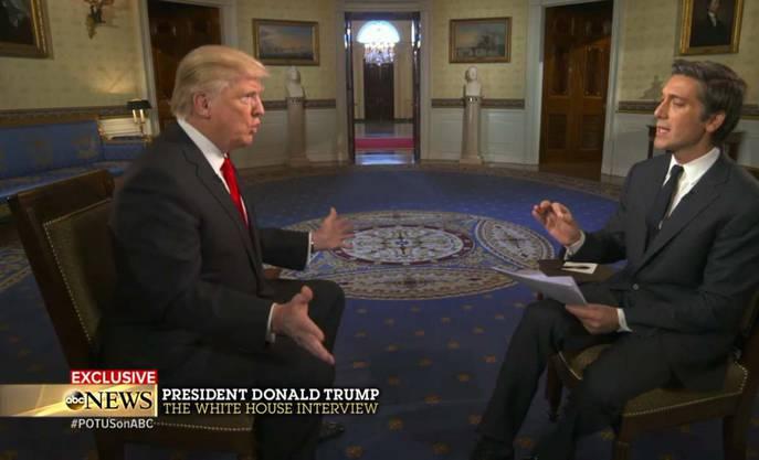 «Die Welt ist ein absolutes Chaos», sagte Trump am Mittwoch dem ABC-Journalisten David Muir in seinem ersten Interview als Präsident.