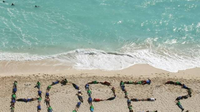 """Eine Aktion am Strand von Cancun -""""Hoffnung?"""""""