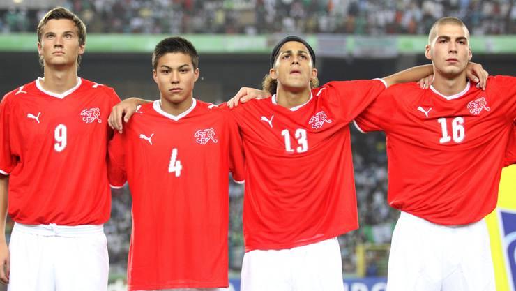 Haris Seferovic (l.) war Teil des U-17-Weltmeisterteams, zusammen mit Charyl Chappuis, Ricardo Rodriguez und Pajtim Kasami (v.l.n.r.).