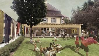 Die Visualisierung zeigt den geplanten «Pavillon Utopia». Er soll zwischen dem Stadthaus und dem Eisi-Park zu stehen kommen.