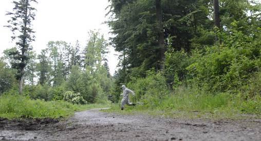 Mittwochvormittag: Ermittler (in weissen Overalls) durchsuchen ein Waldstück bei Fislisbach