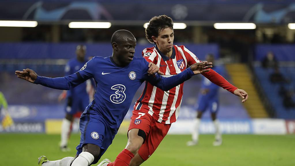 Atléticos João Felix (rechts) gegen Chelseas französischen Weltmeister N'Golo Kanté