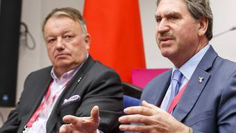 Planen eine eigentliche Revolution im Davis Cup und Fedcup: ITF-Präsident David Haggerty (re.) und Vizepräsident René Stammbach in Minsk