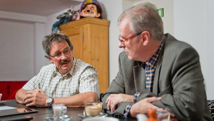 GLP-Grossrat Roland Agustoni – hier im Streitgespräch mit Daniel Vulliamy (SVP) zur Einführung des Einwohnerrates in Rheinfelden im März 2014 – geht in die politische Pension.