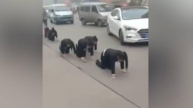 Chinesische Firma lässt Mitarbeiter als Strafe durch Strassen kriechen
