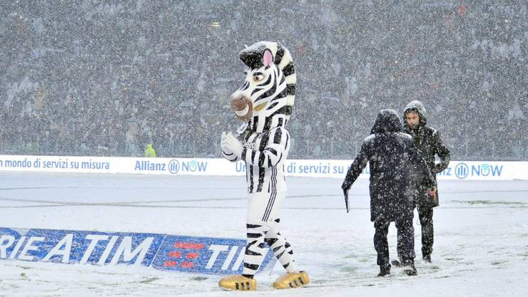 Schneefall in Turin verhinderte die Austragung der Partie zwischen Juventus Turin und Atalanta Bergamo