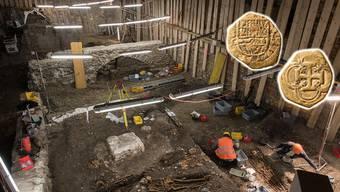 Bei Ausgrabungen im Kreuzgarten des ehemaligen Barfüsserklosters wurden diese Goldmünzen gefunden.