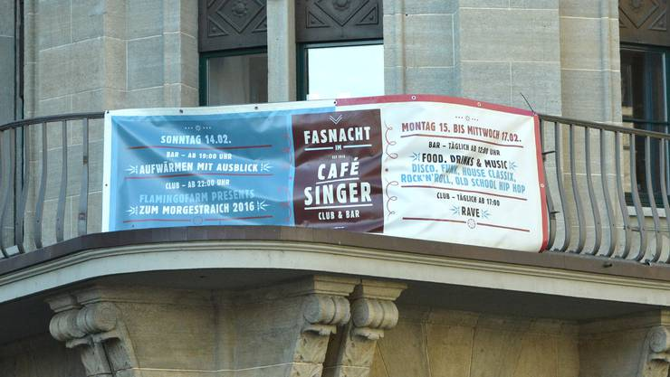 Das Café Singer wirbt mit diesem Plakat für seine Veranstaltung.