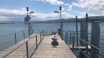 Die Polizei stellte dieses elektrisch betriebene Zuggerät für einen Rollstuhl auf dem Schiffssteg Zürichhorn Casino sicher.