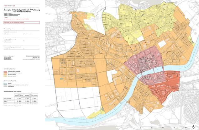 Zonenplanung 4: Standorttyp-Gebiete I-IV Parkierung und Reduktionsfaktoren