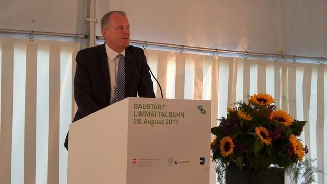 Spatenstich Limmattalbahn: Die Rede des Aargauer Regierungsrats und Verkehrsminister Stephan Attiger.