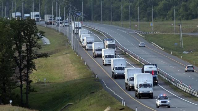 Der russische Hilfskonvoi auf dem Weg in die Ukraine