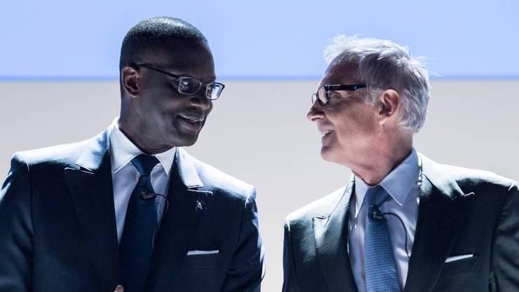 Urs Rohner und Tidjane Thiam an der Generalversammlung im April 2017.