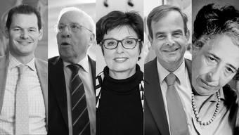Fünf Menschen und ihr Umgang mit der Wahrheit (v.l.): Pierre Maudet, Christoph Blocher, Anita Fetz, Gerhard Pfister, Hannah Arendt.