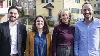 Erster gemeinsamer Auftritt der Kandidaten-Teams in Hitzkirch (LU), von links nach rechts: Cédric Wermuth, Mattea Meyer, Priska Seiler und Mathias Reynard.
