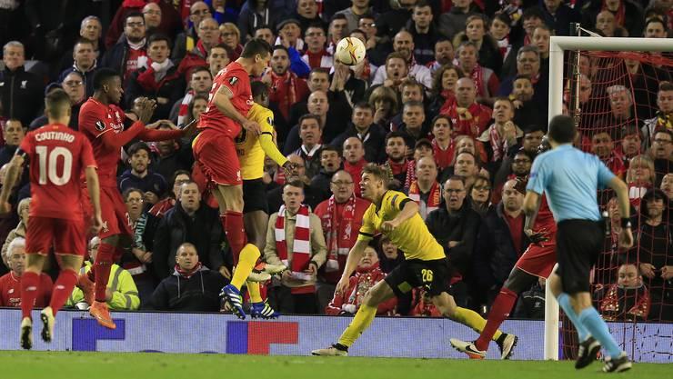 Dieser Kopfball besiegelte den Sieg und den Halbfinal-Einzug von Liverpool.