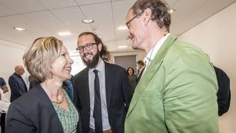 Bei den Wahlen 2019 strahlten sie noch, jetzt kritisiert Maya Graf (l.) Klaus Kirchmayr (r.) und Balint Csontos (m.).