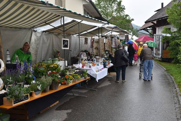 Impressionen vom dritten Gassefäscht in Villigen:Regenschirme waren am frühen Samstagnachmittag am Gassefäscht-Märt oft gesehen.