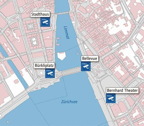 An den vier Standorten in Zürich sind die Kameras nur während Grossveranstaltungen und Kundgebungen in Betrieb.