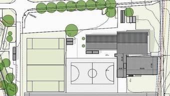 Die neue Turnhalle würde an die bestehende Mehrzweckhalle angebaut. Auf dem Plan das untere grau schraffierte Gebäude.