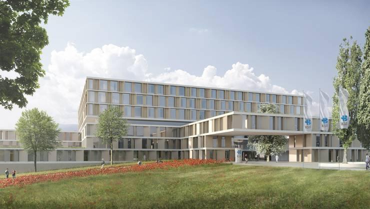 Der Spital-Neubau des KSB soll 2022 in Betrieb genommen werden. Im  Bild: Der Eingangsbereich.