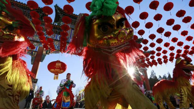 Löwentanz zum Jahreswechsel am Mittwoch in Peking