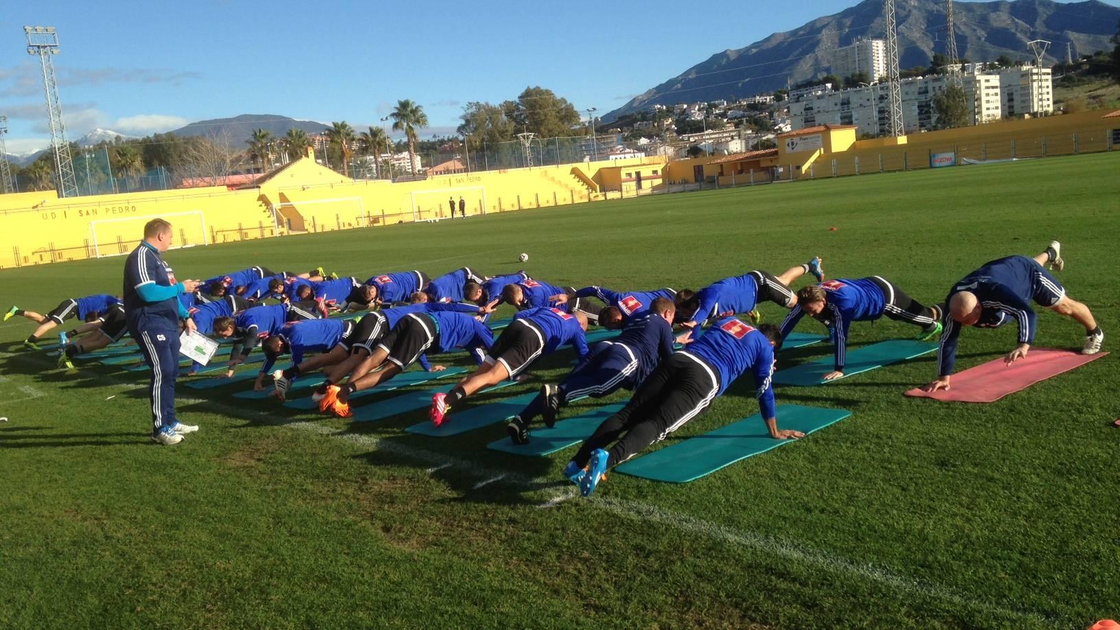 Fitnesstraining für die FCL-Spieler.