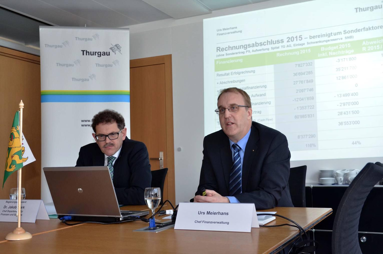 Finanzdirektor Jakob Stark (links) und Urs Meierhans, Chef der Finanzverwaltung, präsentieren die Rechnung 2015.