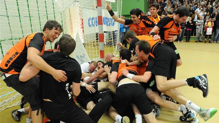 Grenzenloser Aufstiegs-Jubel: Seit Mai 2012 spielt der TV Möhlin wieder in der Nationalliga B.