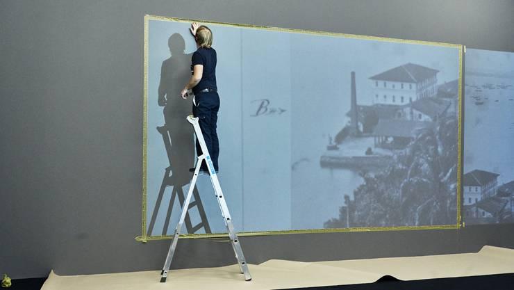 Aufbau der Ausstellung von Denise Bertschi im Aargauer Kunsthaus.