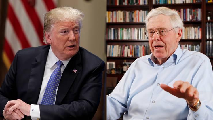 Kontrahenten: Donald Trump (l.) und Milliardär Charles Koch.