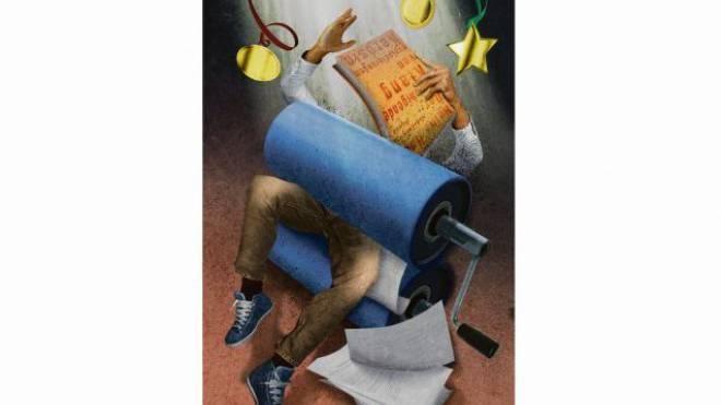 «Der beruhigende Klang von explodierendem Kerosin» brachte Heinz Helle auf die Shortlist. Illustration: Philip Bürli