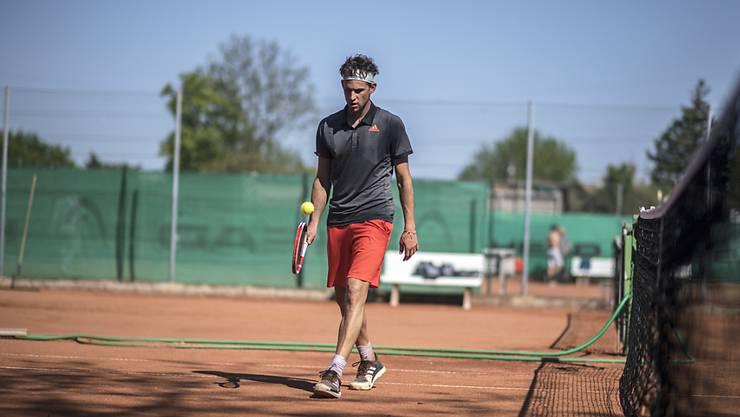 Seit ein paar Wochen wieder im Training, bald auch wieder mit einem nationalen Turniereinsatz:: Dominic Thiem in Wien