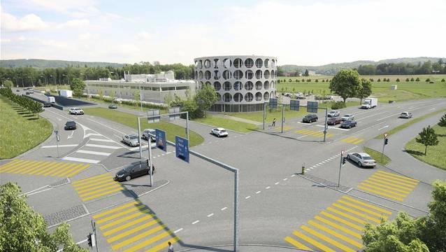 Knoten Neuhof in Lenzburg mit dem Hero Neubau. Richtung Bünztal wird ein Tunnel gebaut, der eine Entflechtung des Verkehrs ermöglicht.