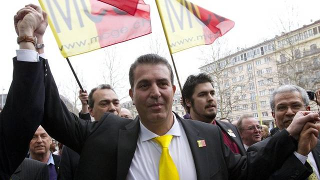 Eric Stauffer, MCG-Präsident, feiert den Wahlerfolg in Genf