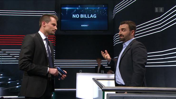Nach der letzten «Arena»-Sendung: Moderator Jonas Projer (links) erhielt Drohungen, sein Kontrahent Olivier Kessler (rechts) auch.